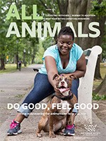All Animals Spring 2021 magazine cover showing a woman and dog