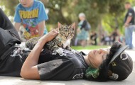 Kid and his cat at Pets for Life event