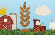 Photo illustration of a farm scene using plant-based nuggets and condiments as design elements