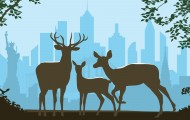 Illustration of a family of deer with New York City in the background