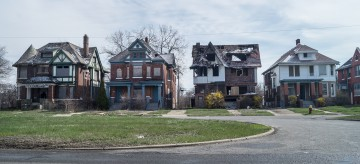 Abandoned homes in a Detroit neighborhood