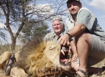 A trophy hunter props open the mouth of a lion he killed for the obligatory photo.