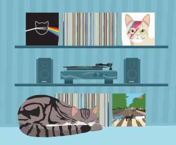 Illustration of a cat relaxing with records and a record player in the background