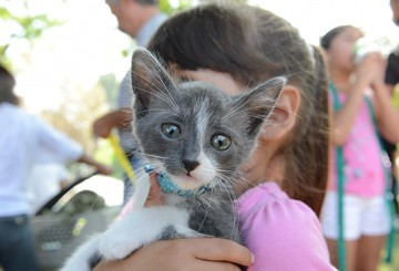 Girl holding her cat at a Pets For Life event