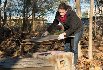 Krista Rakovan building shelter for feral cats