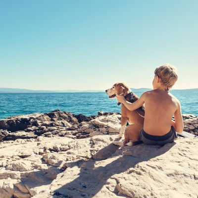 Boy and dog at the beach