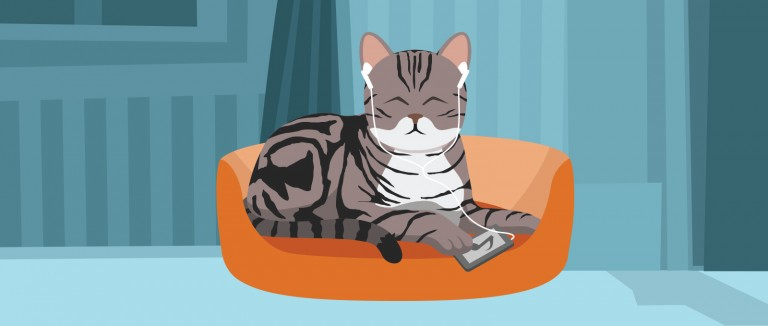 Illustration of a cat relaxing and listening to music with his headphones
